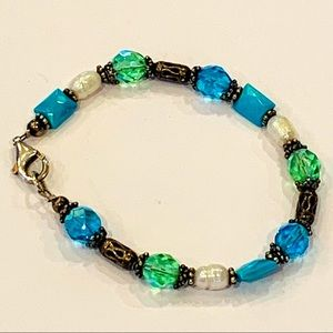 Sterling silver blue green faceted glass crystal